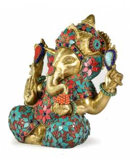 Ganéš, mosazná socha vykládaná polodrahokamy,  22cm