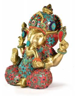 Ganéš, mosazná socha vykládaná polodrahokamy, 29cm
