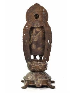 Buddha Maitréja stojící na želvě, mosazná socha, 45cm