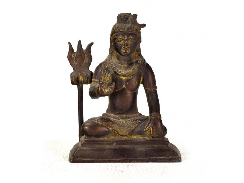 Sedící Šiva, stará mosazná soška, 10cm