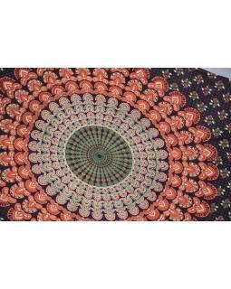 Tmavě fialový sárong s ručním tiskem, paví peří, 110x170cm
