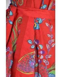 Prodloužená letní halenka s páskem, květinový potisk, červená