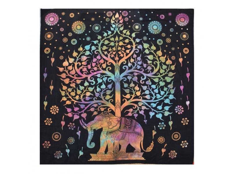Přehoz na postel, strom života, multibarevná batika, 210x230cm