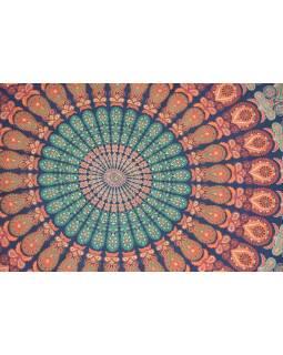 Bavlněný kulatý přehoz s mandalou, zeleno-oranžový, 190 cm