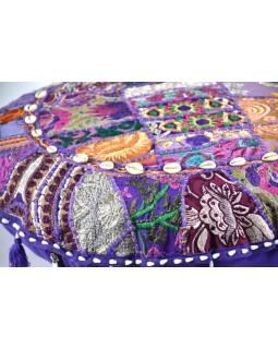 Kulatý meditační polštář z Rajastanu, patchwork, bohatě zdobený, 60x20cm