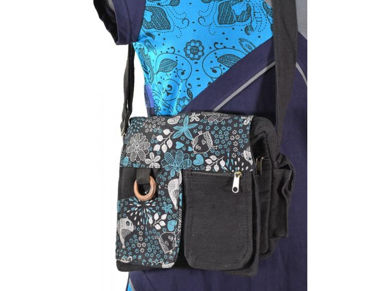 Taška přes rameno, 27x23cm, tři kapsičky, výšivka, bavlna