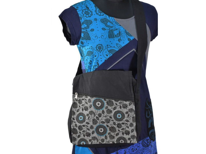 Bavlněná taška přes rameno s potiskem a výšivkou, černo-šedá, 30x30cm