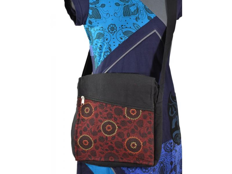 Bavlněná taška přes rameno s potiskem a výšivkou, černo-vínová, 30x30cm