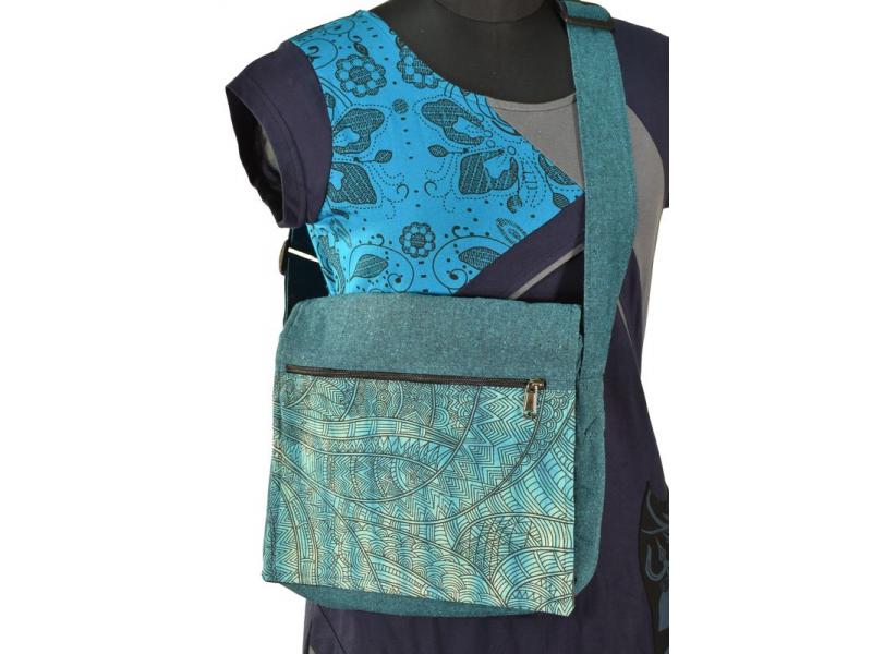 Bavlněná taška přes rameno s potiskem, tyrkysová, 30x30cm