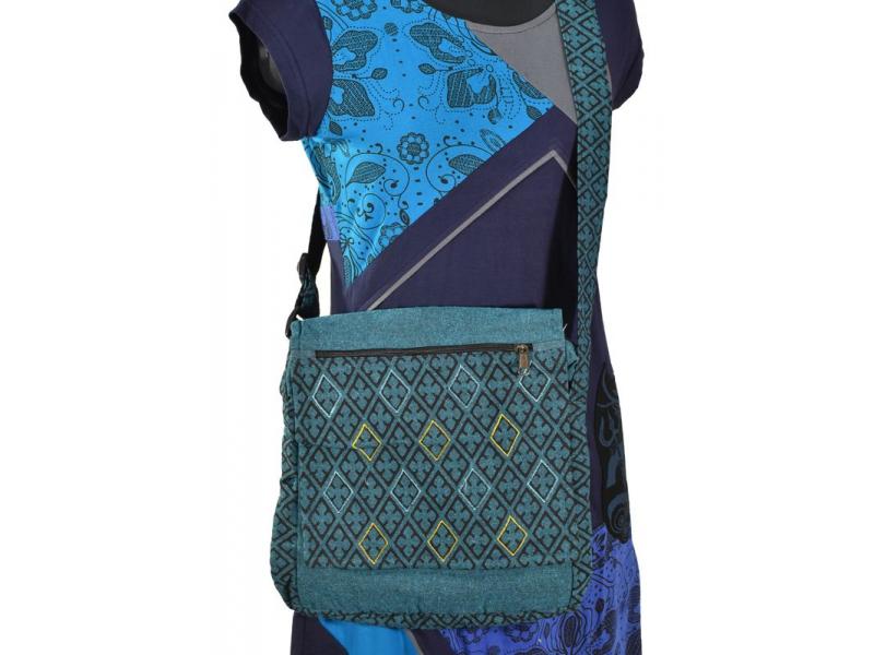 Bavlněná taška přes rameno s potiskem a výšivkou, tyrkysová, 30x30cm