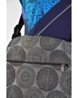 Bavlněná taška přes rameno s potiskem, šedá, 30x30cm