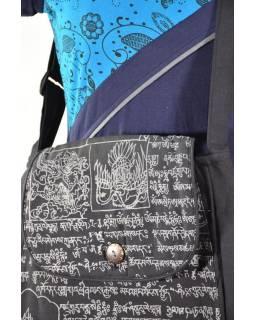 Bavlněná taška přes rameno s potiskem mantra, dlouhý popruh, knoflík, 30x30cm