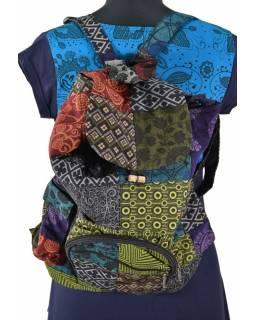 Bavlněný batoh s potiskem, patchwork, stahovací, 4 kapsy, 40x40cm