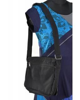 Malá bavlněná taška přes rameno, potisk, černo-vínová, 25x25cm