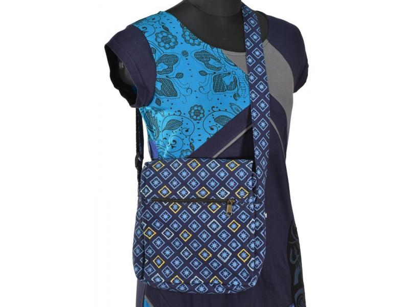 Malá bavlněná taška přes rameno, potisk, tmavě modrá, 25x25cm