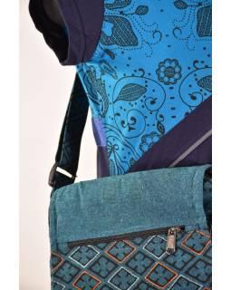 Malá bavlněná taška přes rameno, potisk, modrá, 25x25cm
