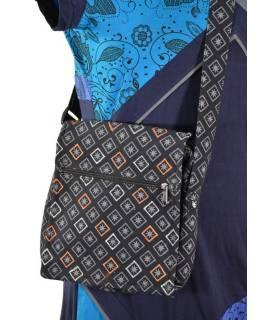 Malá bavlněná taška přes rameno, potisk, černá, 25x25cm