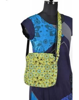 Malá bavlněná taška přes rameno, potisk, zelená, 25x25cm