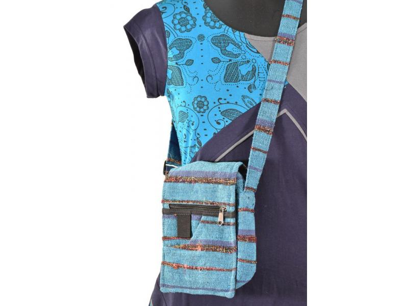 Malá bavlněná taštička, modrá, zip, 20x18cm