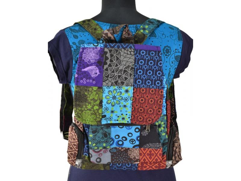 Bavlněný batoh s potiskem, patchwork, 38x32 cm