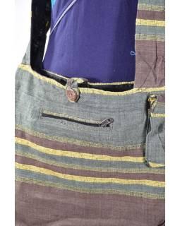 Taška přes rameno, zelená, bavlna, široký popruh, kapsa, 40x40cm