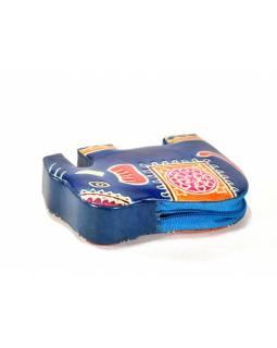 Ručně malovaná kožená peněženk ve tvaru slona, modrá, 11x8cm