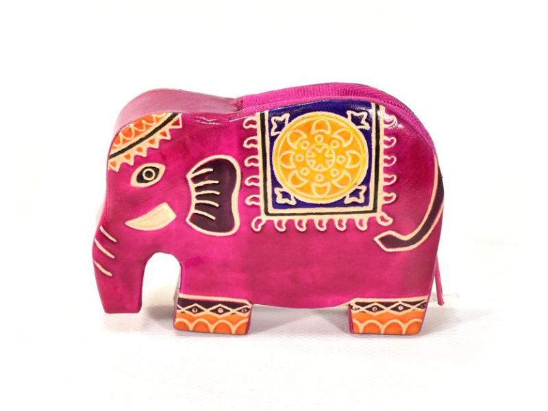 Ručně malovaná kožená peněženk ve tvaru slona, růžová, 11x8cm
