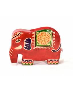 Ručně malovaná kožená peněženk ve tvaru slona, červená, 11x8cm