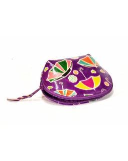 Ručně malovaný kožený neceser, fialová, slunečníky, 15x5x11cm