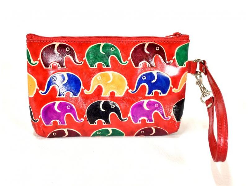Ručně malovaný kožený neceser, červená, sloni, 17x11cm