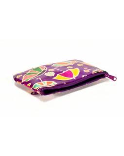 Ručně malovaný kožený neceser, fialová, slunečníky, 16x10cm
