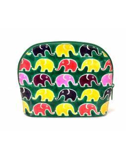 Ručně malovaný velký kožený neceser, zelená, sloni