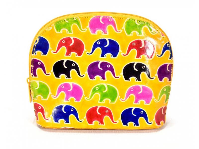 Ručně malovaný velký kožený neceser, žlutá, sloni