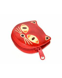 Ručně malovaná kožená peněženka ve tvaru kočky, červená, 7x7cm