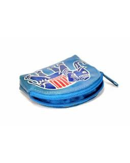 Ručně malovaná kožená peněženka, modrá se slonem, 8x7cm