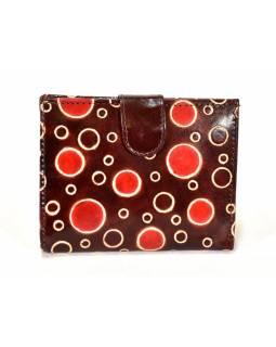 Ručně malovaná kožená peněženka, hnědá s bublinkami, 12x10cm