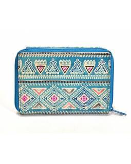 Ručně malovaná kožená peněženka, modrá se slonem, 13x10cm