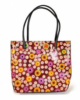 Ručně malovaná kožená kabelka, hnědá s kolečky, 35x35cm + ucha