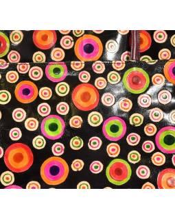 Ručně malovaná kožená kabelka, černá s kolečky, 35x35cm + ucha
