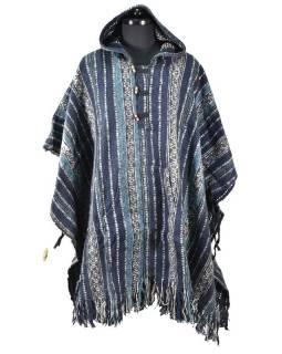 Tibetské pončo z česané bavlny, kapsy, kapuca, tmavě modrá