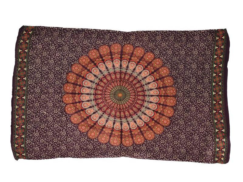 """Tmavě fialový sárong s ručním tiskem, """"Naptal"""" design, 110x170cm"""