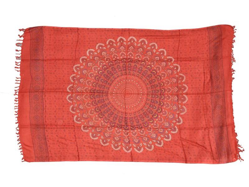 """Červený sárong s ručním tiskem, """"Naptal"""" design, 110x170cm"""