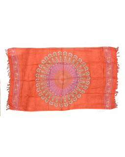 """Oranžový sárong s ručním tiskem, """"Naptal"""" design, 110x170cm"""