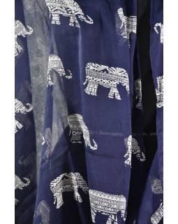 Sárong, bavlna, modrý se slony , cca 95x170cm