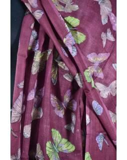 Šátek s motivem motýlů a třásněmi, vínový, 180x75cm