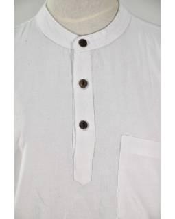 Bílá pánská košile-kurta s krátkým rukávem a kapsičkou, měkčené provedení
