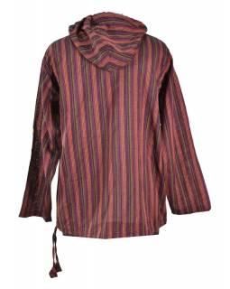 Pruhovaná vínová pánská košile-kurta s dlouhým rukávem a kapucou