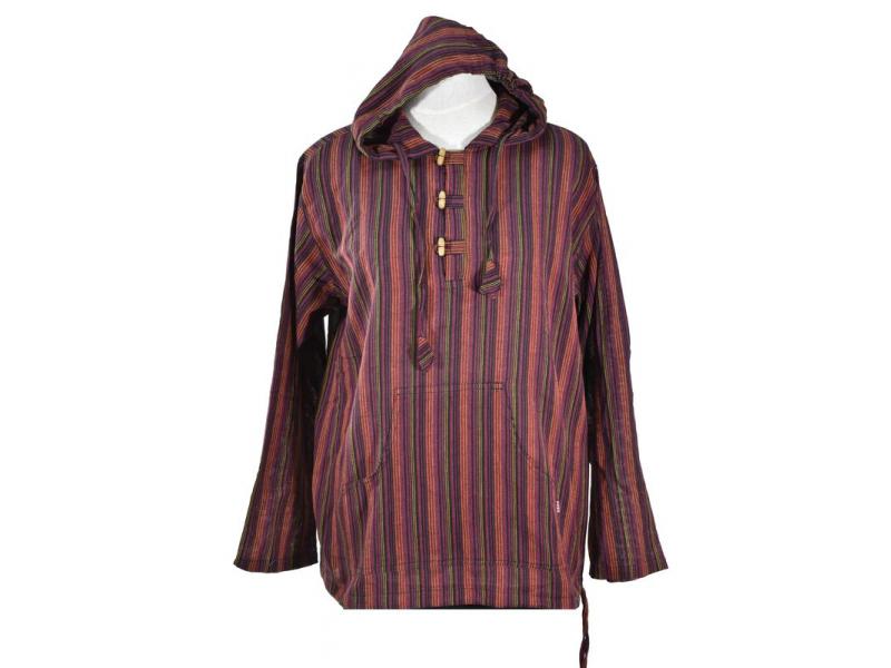 Pruhovaná vínová pánská košile-kurta s dlouhým rukávem a kapucou, měkčené proved