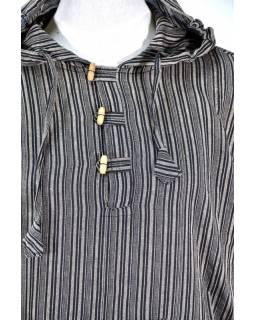 Pruhovaná hnědá pánská košile-kurta s dlouhým rukávem a kapucou