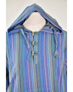 Pruhovaná modrá pánská košile-kurta s dlouhým rukávem a kapucou, měkčené proved